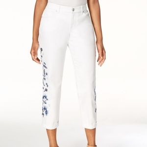 Style & Co. White Embroidered Ankle Jeans